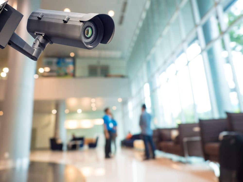 Security camera in a modern business building