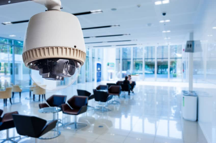 A security system in a modern office building