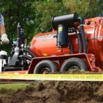Hydro excavation equipment on a work site