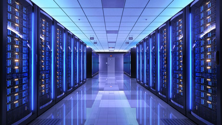 Server racks inside a data center with structured cabling