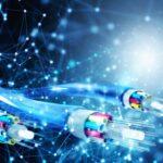 Fiber optic cables transmitting information